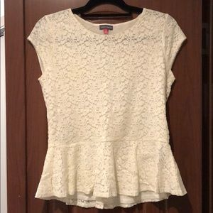 Vince Camuto White Lace Blouse